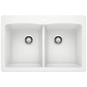 Blanco America Diamond™ 33 x 22 in. 1 Hole Composite Double Bowl Dual Mount Kitchen Sink in White B440221 at Pollardwater