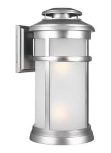 Generation Lighting Newport 75W 2-Light Medium E-26 Incandescent Outdoor Wall Sconce in Painted Brushed Steel GLOL14303PBS