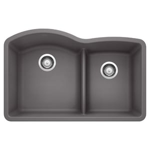 Blanco America Diamond™ 32 x 20-7/8 in. No Hole Composite Double Bowl Undermount Kitchen Sink in Cinder B441591
