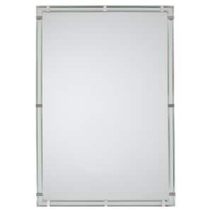 Feiss Parker Place 22-3/8 in. Large Framed Rectangle Mirror in Brushed Steel GLMR1089BS