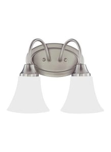 Generation Lighting Holman 60W 2-Light Medium E-26 Base Incandescent Wall or Bath Sconce in Brushed Nickel GL44806962