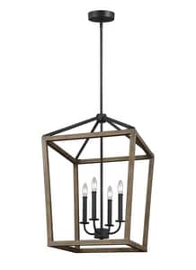 Feiss Gannet 240W 4-Light Candelabra Incandescent Chandelier in Weathered Oak Wood with Antique Forged Iron GLF31914WOWAF