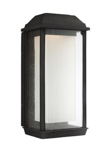 Generation Lighting McHenry 14W 1-Light Integrated LED Outdoor Wall Sconce in Textured Black GLOL12802TXBL1