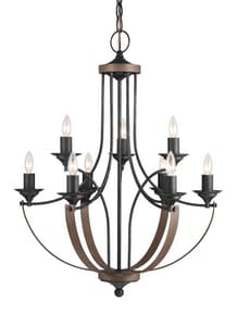 Seagull Lighting Corbeille 73-1/4 in. 9-Light Candelabra E-12 Base Chandelier in Stardust GL3280409846