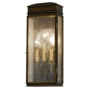 Feiss Whitaker 9 in. 60W 3-Light Candelabra E-12 Incandescent Wall Lantern in Astral Bronze GLOL7402ASTB