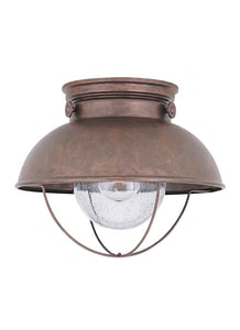Seagull Lighting Sebring 100 W 1-Light Medium Outdoor Semi-Flush Mount Ceiling Fixture in Weathered Copper GL886944