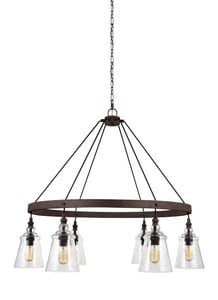 Feiss Loras 37-1/8 in. 360W 6-Light Medium E-26 Chandelier in Dark Weathered Iron GLF31706DWI