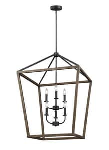 Feiss Gannet 360W 6-Light Candelabra Incandescent Chandelier in Weathered Oak Wood with Antique Forged Iron GLF31926WOWAF