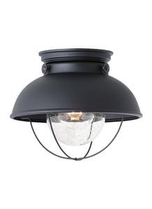 Seagull Lighting Sebring 1-Light Outdoor Ceiling Flushmount Light in Black GL886912