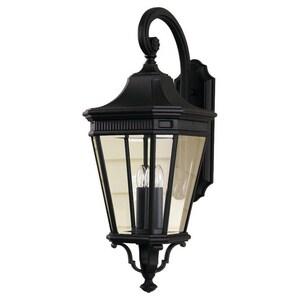 Generation Lighting Cotswold Lane 12 in. 60W 3-Light Candelabra E-12 Incandescent Wall Lantern in Black GLOL5404BK