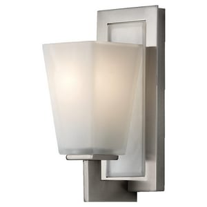Feiss Clayton 10-1/2 in. 100W 1-Light Wall Mount Medium E-26 Bath Light in Brushed Steel GLVS16601BS
