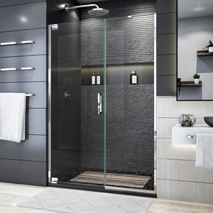 DreamLine Elegance Plus 72 x 52-1/2 in. Frameless Pivot Shower Door in Polished Chrome DSHDR445222501