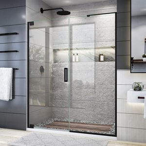 DreamLine Elegance Plus 72 x 58-3/4 in. Frameless Pivot Shower Door in Satin Black DSHDR445830509