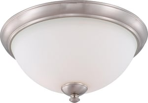 Nuvo Lighting Patton 15-3/4 in. 3-Light Flushmount Ceiling Light in Brushed Nickel with Frosted Glass Shade N605041