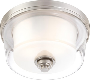 Nuvo Lighting Decker 60W 2-Light Flushmount Ceiling Fixture in Brushed Nickel N604651