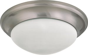 Nuvo Lighting 3 Light 60W 17 in. Flush Mount Twist & Lock With Frosted Shade Brushed Nickel N603273