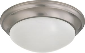 Nuvo Lighting 2 Light 60W 14 in. Flush Mount Twist & Lock With Frosted Shade Brushed Nickel N603272