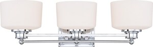 Nuvo Lighting Soho 3 Light 100W 25 in. Satin White Glass Vanity Polished Chrome N604583