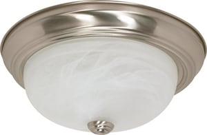 Nuvo Lighting 2 Light 60W Flush Mount Ceiling Fixture Bright Nickel N60198