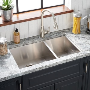 Signature Hardware Sitka 33 x 22 in. 1 Hole Stainless Steel Double Bowl Dual Mount Kitchen Sink in Brushed Stainless Steel SHSKDM2BZL1