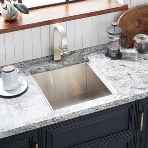 Signature Hardware Sitka 1-Hole 1-Bowl Undermount and Self-Rimming Kitchen Sink with Center Drain in Brushed Stainless Steel SHSKDM1515Z1