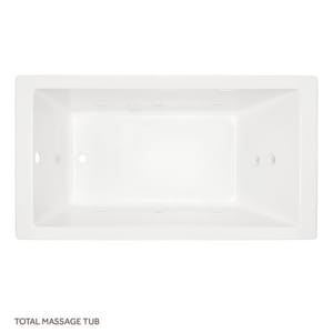 Signature Hardware Sitka 72 x 36 in. Combo Drop-In Bathtub with End Drain in White SHSKT7236WH