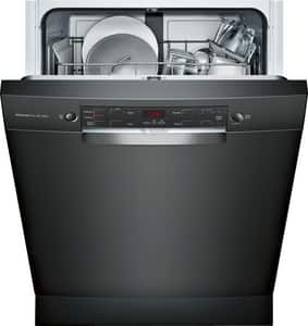 Bosch 300 Series 23-9/16 in. 12A 46dB 4-cycle Undercounter and Built-in Recessed Handle Dishwasher in Black BSGE53X56UC
