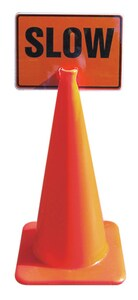 Accuform Signs 10 x 14 in. Cone Left and Right Arrow Sign in Orange AFBC751 at Pollardwater