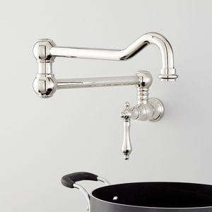 Signature Hardware Amberley Single Handle Lever Handle Pot Filler in Polished Nickel SHXAM105PN