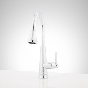 Signature Hardware Hartfield™ Single Handle Pull Down Kitchen Faucet in Polished Chrome SHXCHA101MCP