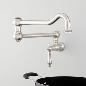 Signature Hardware Amberley Single Handle Lever Handle Pot Filler in Stainless Steel SHXAM105SS