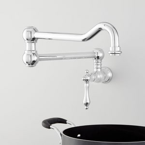Signature Hardware Amberley Single Handle Lever Handle Pot Filler in Polished Chrome SHXAM105CP