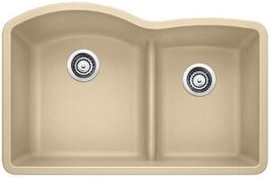 Blanco America Diamond™ 32 x 20-7/8 in. No Hole Composite Double Bowl Undermount Kitchen Sink in Biscotti B441595