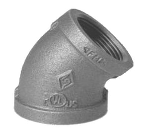 1/4 in. FPT 150# Galvanized 45 Degree Malleable Iron Elbow IG4B at Pollardwater