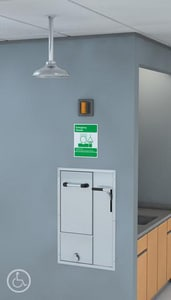 Guardian Equipment Recess Safety Station with Drain Exposed Showerhead in Stainless Steel GGBF2152