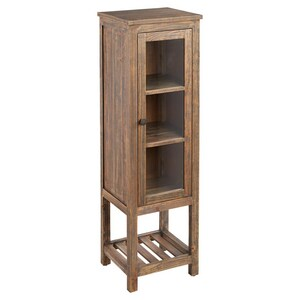 Signature Hardware Wakefield 19 x 61-1/8 in. Linen Tower in Grey Wash Pine with Antique Brass Hardware SH441137