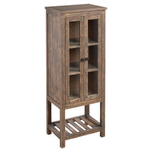 Signature Hardware Wakefield 24 x 61-1/4 in. Linen Tower in Grey Wash Pine with Antique Brass Hardware SH441157