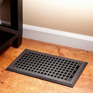 Signature Hardware Mission 6 x 10 in. Residential Cast Iron Floor Register in Black Powder Coat 917441-6