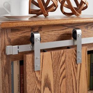Signature Hardware Hal 36 in. Steel Cabinet Barn Door Hardware in Stainless Steel SH441279