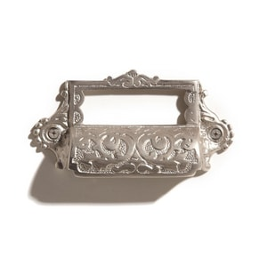 Signature Hardware Ornate 4-3/8 in. Brass Cup Pull with Label Holder in Brushed Nickel SH374619