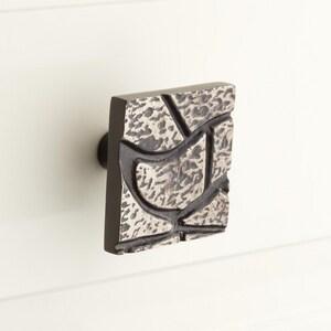 Signature Hardware Hosmer 1-7/8 in. Brass Square Cabinet Knob in Antique Nickel SH445369