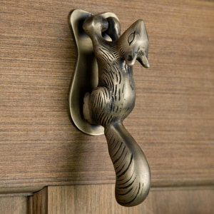 Signature Hardware Squirrel 2 in. Brass Door Knocker in Antique Brass SH266292
