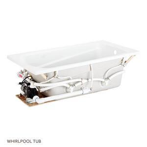 Signature Hardware Bradenton 59-1/2 x 32 in. Soaker Drop-In Bathtub End Drain in White SHBDS6032WH