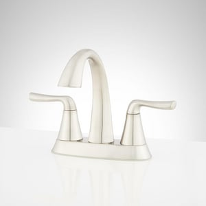 Signature Hardware Provincetown Two Handle Centerset Bathroom Sink Faucet in Brushed Nickel SHWSCPR400ZBN