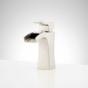 Signature Hardware Vilamonte Single Handle Monoblock Bathroom Sink Faucet in Brushed Nickel SHWSCVL105BN