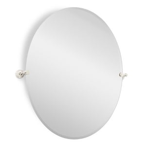 Signature Hardware Seattle 32-1/2 in. Oval Tilting Mirror in Polished Nickel SH406942