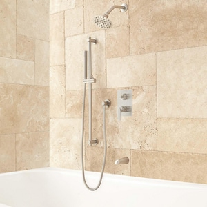Signature Hardware Trimble Two Handle Shower System in Brushed Nickel SH414895