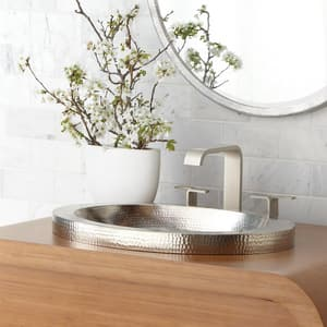 Native Trails Kitchen & Bath Hibiscus 21 x 14 in. Copper Lavatory Sink in Brushed Nickel NCPS543