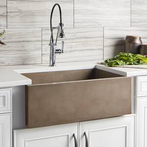 Native Trails Kitchen & Bath NativeStone® 30 x 18 in. No Hole Concrete Single Bowl Apron Front Kitchen Sink in Earth NNSK3018E
