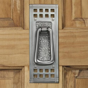 Signature Hardware Mission 3 in. Brass Door Knocker in Brushed Nickel 915777
